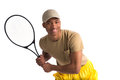 Natural looking african american college student holding tennis racket on isolated white background Royalty Free Stock Images