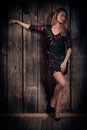 Natural looking beautiful lady in a short dress posing over wooden wall background gorgeous long blond hair woman with fine figure Royalty Free Stock Image