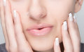 Natural Makeup and French Manicure. Sensual Lips Royalty Free Stock Images