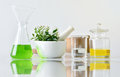 Natural organic botany and scientific glassware, Alternative herb medicine, Natural skin care cosmetic beauty products