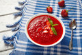 Natural organic fresh strawberry cream soup vegetarian sweet berry smoothie Royalty Free Stock Photo
