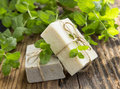 Natural organic mint soaps with mint leaves Royalty Free Stock Photo