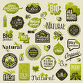 Natural organic product labels and emblems set of vectors badges beautiful vector design elements Royalty Free Stock Photo