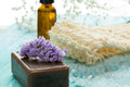 Natural organic soap bottles essential oil and sea salt herbal bath  on a blue wooden table Royalty Free Stock Photo