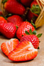 Natural organic strawberries Royalty Free Stock Images
