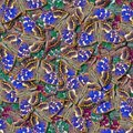 Natural pattern for design. Abstract blue and green pattern of bright butterflies. Colorful butterfly ornament. Purple emperor but Royalty Free Stock Photo
