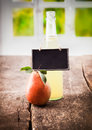 Natural pear juice display Royalty Free Stock Image