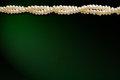 Natural pearls necklace a line of on a dark green background with space for copy text Stock Photo