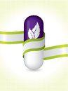 Natural pill with ribbon brochure design green Stock Photography