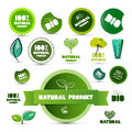 Natural product green labels tags stickers set isolated on white background Stock Images