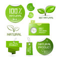 Natural product green labels tags stickers set isolated on white background Stock Image