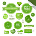 Natural product green labels tags stickers set isolated on white background Stock Photography