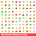 100 natural product icons set, cartoon style
