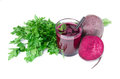 Natural red beetroot and parsley, isolated on a white background. Raw and fresh vegetables. Healthful concept. Royalty Free Stock Photo
