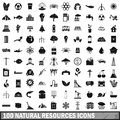 100 natural resources icons set, simple style