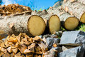 Natural resources wood and stone as Stock Photography