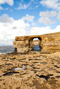 Natural rock arch Azure Window, Gozo Royalty Free Stock Images