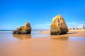 Natural rocks at Praia Tres Irmaos in Portugal Royalty Free Stock Images