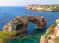 Natural rocky archway majorca island spain Royalty Free Stock Photo