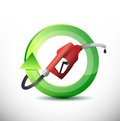Natural rotating with a gas pump nozzle illustration design over white background Royalty Free Stock Photos