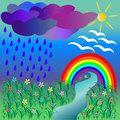 Natural scenery with rainbow vector illustration Stock Image