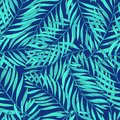 Natural seamless pattern with green tropical palm leaves on blue background. Backdrop with foliage of exotic trees