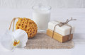 Natural soap set, Bath sponge , glass of milk and orchid flower, Royalty Free Stock Photo