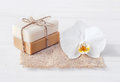 Natural soap set, Bath sponge and orchid flower, Royalty Free Stock Photo