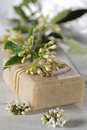 Natural soaps with flower on white wooden table Stock Photo