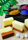 Natural soaps spa setting with Stock Images