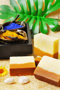 Natural soaps spa setting with Royalty Free Stock Images