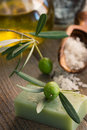 Natural spa setting with olive products Stock Photos