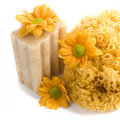 Natural sponge, soap and flowers Royalty Free Stock Images