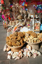 Natural sponges, souvenirs and shells on sale Stock Image