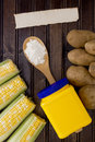 Natural starch in a plastic container and the products are a source of Royalty Free Stock Image