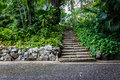 Natural stone stairs in garden Royalty Free Stock Photo