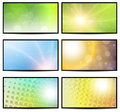 Natural sunny backgrounds collection vector illustration Royalty Free Stock Photo