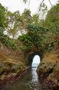 Natural tunnel in the rock dug by the sea on caribbean shore of costa rica punta uva puerto viejo Stock Images