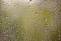 Natural water drops on window glass with green background Stock Images