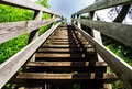 Natural wooden stairway to heaven in austrial alps Royalty Free Stock Photos