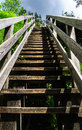 Natural wooden stairway to heaven in austrial alps Stock Photo