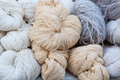Natural woolen threads at market Royalty Free Stock Photo