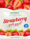 Natural Yogurt ads or packaging design. Illustration of zero fat healthy dairy product with sliced strawberry and flavor Royalty Free Stock Photo