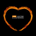Naturalistic Fire Heart on Dark  Background. Vector Illustration Royalty Free Stock Photo