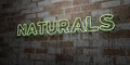 NATURALS - Glowing Neon Sign on stonework wall - 3D rendered royalty free stock illustration Royalty Free Stock Photo