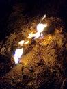 Naturaly burning rocks of mount chimaera Royalty Free Stock Photo