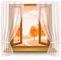 Nature autumn background with wooden window frame with curtains Royalty Free Stock Photo