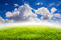Nature background, Fields and blue sky with clouds background