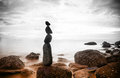 Nature background sea dramatic landscape harmony environment zen stones tower silhouette meditation photography Stock Photos