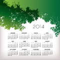 Nature calendar illustration of with green tree leaves Stock Photo